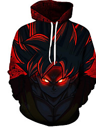 Недорогие -Муж. Большие размеры Брюки - 3D Красный / Круглый вырез / Длинный рукав / Осень / Зима