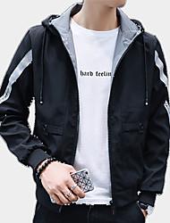 cheap -Men's Jacket - Color Block Hooded / Long Sleeve
