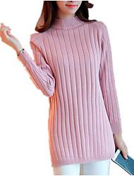 Недорогие -Жен. Длинный рукав Длинный Пуловер - Однотонный Воротник-стойка / Осень