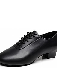 cheap -Boys' Latin Shoes Faux Leather Heel Thick Heel Customizable Dance Shoes Black