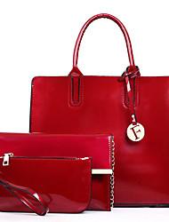 baratos -Mulheres Bolsas PU Conjuntos de saco 3 Pcs Purse Set Ziper / Cor Única Preto / Vermelho / Roxo