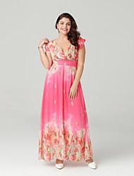 זול -V עמוק מקסי קפלים, דפוס - שמלה שיפון בוהו חגים בגדי ריקוד נשים