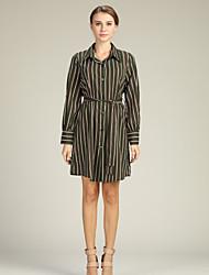 preiswerte -Damen Hemd Kleid Gestreift Übers Knie