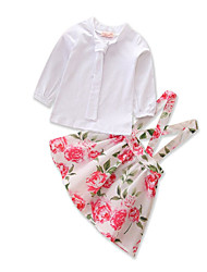 levne -Dítě Dívčí Jednobarevné Dlouhý rukáv Sady oblečení