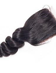 Недорогие -Yavida Бразильские волосы / Свободные волны 4x4 Закрытие / Бесплатно Part Волнистый Бесплатный Часть Швейцарское кружево Натуральные волосы Жен. Мягкость / Шелковистость / Лучшее качество