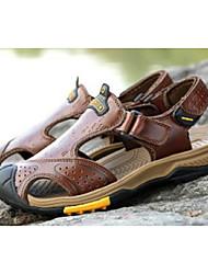 cheap -Men's Comfort Shoes Cowhide Summer Casual Sandals Black / Brown