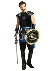 cheap -Soldier / Warrior Costume Men's Halloween Carnival Masquerade Festival / Holiday Halloween Costumes Outfits Black Solid Colored Halloween Halloween