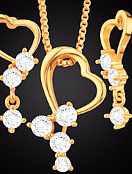cheap -Women's Cubic Zirconia Stylish / Link / Chain Jewelry Set - Heart Stylish, Romantic, Sweet Include Stud Earrings / Pendant Necklace Gold For Wedding / Festival