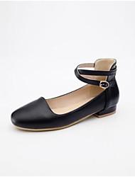abordables -Femme Chaussures Polyuréthane Printemps Confort / Escarpin Basique Ballerines Talon Plat Bout fermé Blanc / Noir / Rose