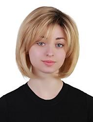 baratos -Perucas de cabelo capless do cabelo humano Cabelo Humano Liso Corte Bob Riscas Naturais Preto - loira Sem Touca Peruca Mulheres Diário