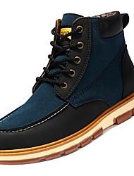 Недорогие -Муж. Полиуретан Осень Модная обувь Ботинки Сапоги до середины икры Контрастных цветов Черный / Коричневый / Синий