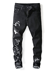 cheap -Men's Street chic Jeans Pants - Floral Black & White / Butterfly, Embroidered