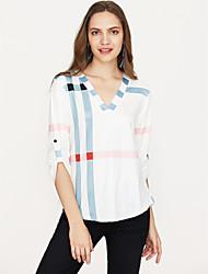 economico -T-shirt Per donna A quadri A V - Cotone / Primavera / Autunno / Largo
