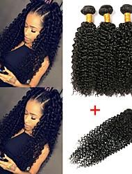 Недорогие -3 комплекта с закрытием Индийские волосы Kinky Curly 8A Натуральные волосы Необработанные натуральные волосы Человека ткет Волосы Сувениры для чаепития Пучок волос 8-20 дюймовый Естественный цвет
