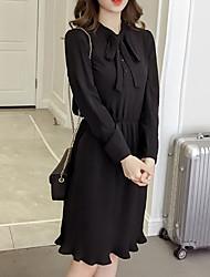 Недорогие -Жен. На выход Тонкие Оболочка Платье Завышенная Вырез под горло До колена