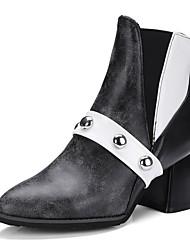 Női Kényelmes cipők PU Ősz   tél Csizmák Vaskosabb sarok Bokacsizmák Fekete    Sötétbarna ca02a6252f