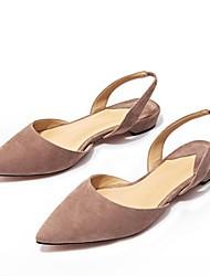 Недорогие -Жен. Комфортная обувь Овчина Весна Сандалии На низком каблуке Черный / Розовый