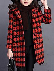 Недорогие -Дети Девочки Активный / Уличный стиль На выход Гусиная лапка Длинный рукав Длинная Куртка / пальто