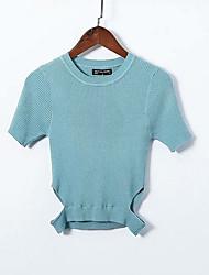 billige -Dame kortærmet pullover - solid farvet besætning hals