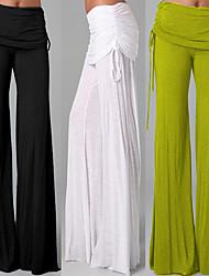 baratos -Mulheres Perna larga Calças de Yoga - Azul, Rosa claro, Azul Marinho Escuro Esportes Côr Sólida Calças Dança, Fitness Roupas Esportivas Respirável, Macio Com Stretch