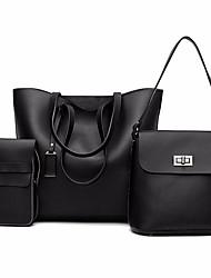 billige -Dame Tasker PU Taskesæt 3 stk. Taske sæt Solid Blå / Sort / Lysegrå