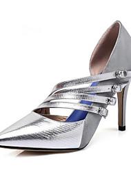 cheap -Women's Nappa Leather Spring Basic Pump Heels Stiletto Heel Black / Silver