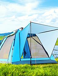 Недорогие -BSwolf 4 человека на открытом воздухе Семейный кемпинг-палатка С защитой от ветра Дожденепроницаемый Воздухопроницаемость Пригодно для носки Автоматический Однокомнатная Двухслойные зонты 1500-2000