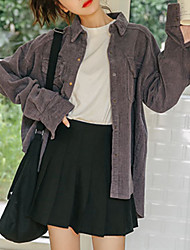 Недорогие -Жен. На выход Куртка Рубашечный воротник Однотонный