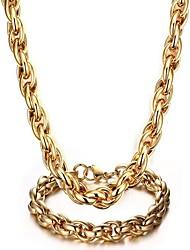 Недорогие -Муж. Стильные Комплект ювелирных изделий - Титановая сталь Креатив Мода Включают Цепочка Золотой Назначение Для вечеринок Повседневные
