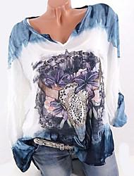 Недорогие -Жен. Большие размеры - Рубашка V-образный вырез Свободный силуэт Геометрический принт / Осень