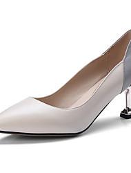 cheap -Women's Nappa Leather Spring Basic Pump Heels Low Heel Black / Beige