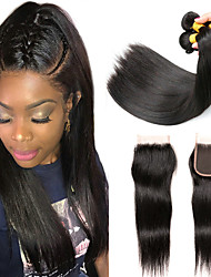 cheap -3 Bundles with Closure Peruvian Hair Straight Human Hair Headpiece / Extension / Hair Accessory 8-24 inch Human Hair Weaves Machine Made / 4x4 Closure Silky / Hot Sale / For Black Women Black Natural