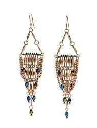 baratos -Mulheres Sapphire sintético Franjas Brincos Compridos - Prateado Importante, Luxo, Formais Dourado Para Aniversário Festa de Noite