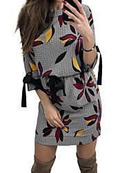 baratos -Mulheres Básico / Boho Bainha Vestido - Estampado, Geométrica Mini Folha tropical