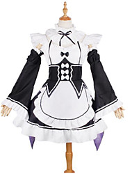cheap -Inspired by Re:Zero Starting Life in Another World Maid Costume / Rem / Ram Anime Cosplay Costumes Cosplay Suits Lace Long Sleeve Cravat / Dress / Sleeves For Girls' Halloween Costumes