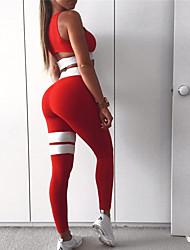 baratos -Mulheres Com Corte Terno de Yoga - Preto, Vermelho Esportes Riscas, Moderno Meia-calça / Leggings / Blusinha Cropped Ioga, Corrida, Fitness Roupas Esportivas Respirável, Secagem Rápida, Redutor de