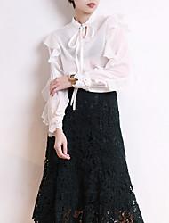 economico -T-shirt Per donna Essenziale Sleeve Lantern Con balze / Collage, Tinta unita Girocollo - Cotone / Taglia piccola