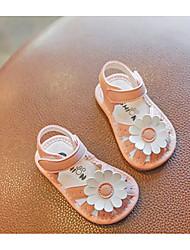 Недорогие -Девочки Обувь Полиуретан Лето Обувь для малышей Сандалии Цветы / На липучках для Дети Белый / Розовый / Контрастных цветов