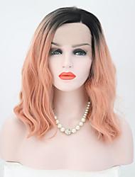 Недорогие -Синтетические кружевные передние парики Волнистый Розовый Боковая часть Искусственные волосы 12 дюймовый Регулируется / Жаропрочная Розовый Парик Жен. Короткие Лента спереди Черный / розовый / Да