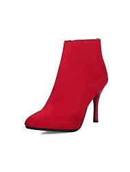 billiga -Dam Fashion Boots Imitationsläder Höst vinter Stövlar Stilettklack Spetsig tå Korta stövlar / ankelstövlar Svart / Röd