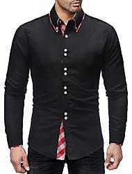 Недорогие -Муж. Пэчворк Рубашка Классический Однотонный