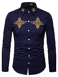 Недорогие -Муж. Вышивка Рубашка Винтаж / Богемный Цветочный принт