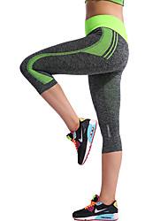baratos -Mulheres Sexy Calças de Yoga - Azul, fúcsia, Azul Marinho Escuro Esportes Riscas Elastano 3/4 calças justas Corrida, Fitness, Ginásio Roupas Esportivas Design Anatômico, Respirável, Compressão