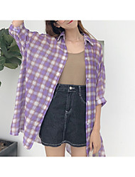 cheap -Women's Shirt - Check / Letter Print