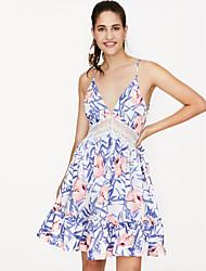 Недорогие -Жен. Пляж Оболочка Платье V-образный вырез Выше колена