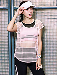 cheap -Women's See Through Yoga Top / Blouse - Pink Sports Fashion Tee / T-shirt Yoga, Running, Fitness Short Sleeve Activewear Quick Dry, Breathable Stretchy