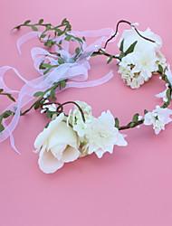 baratos -Organza com Floral 1pç Casamento / Ao ar livre Capacete