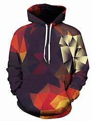 Недорогие -Муж. Большие размеры Брюки - Геометрический принт / 3D Черный / Капюшон / Длинный рукав / Осень / Зима