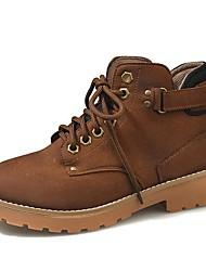 Недорогие -Жен. Армейские ботинки Полиуретан Осень Ботинки На толстом каблуке Круглый носок Черный / Желтый / Кофейный