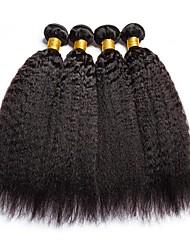 Недорогие -4 Связки Индийские волосы / Монгольские волосы Вытянутые Натуральные волосы / Необработанные натуральные волосы Подарки / Косплей Костюмы / Человека ткет Волосы 8-28 дюймовый Естественный цвет